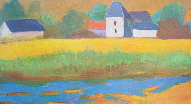 Landschap in de Morvan acryl